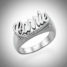 Name Ring Monogram Initial Custom Engraved Personalized Leaf STERLING SILVER