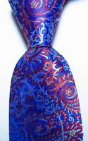 New Classic Paisley Blue Red White JACQUARD WOVEN 100% Silk Men's Tie Necktie