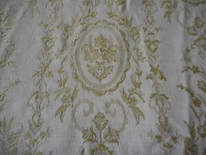 Vintage Floral Cameo Cartouche Damask Jacquard Fabric ~ Celery Green