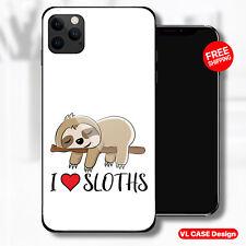 I Love Sloths Sloth Glass Phone Case Samsung Huawei iPhone Xiaomi Gift Idea