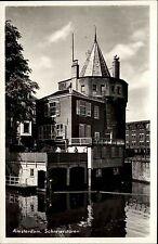 Amsterdam Niederlande s/w Postkarte ~1950/60  Schreierstoren Partie Holland AK
