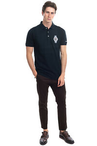 BRONZAJI Pique Polo Shirt Size XL Coated Embroidered Watch Short Sleeve Slim Fit
