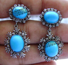 1.54ct Antique Rose Cut Diamond Victorian Design Turquoise Dangle Party Earrings