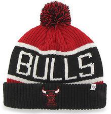 CHICAGO BULLS NBA VINTAGE WINTER KNIT 47 RED/BLK 2-TONE POM BEANIE CAP HAT NEW!