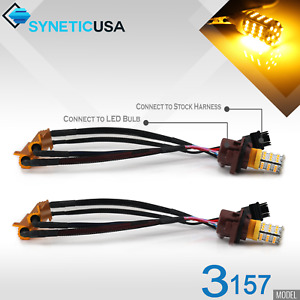 Error Free 3157 High Power LED Amber/Yellow Turn Signal DRL Parking Light Bulbs
