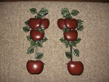 Home Interior Homco Metal Red Apples Green Leaves Sconces Set of 2