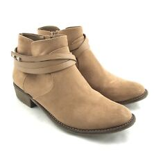 DV8 Dolce Vita Booties Womens Size 7.5 Brown Faux Suede Strappy Short Boots Zip