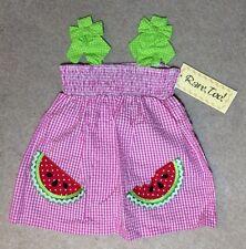 Rare, too! Girls Watermelon Gingham Fuchsia Dress - Size 24M - NEW
