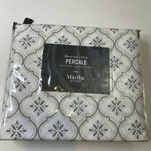 Martha Stewart Collection Percale sheet set twin 100% cotton white gray classic