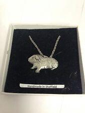 "Guinea Pig PP-A28 Emblem Silver Platinum Plated Necklace 18"""