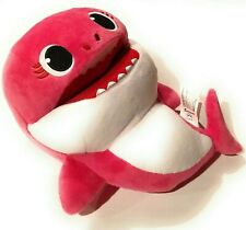 """Pinkfong Mommy Shark 10"""" Pink Song Puppet with Tempo Control Plush Toy"""