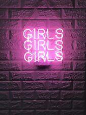 """New Pink Girls Girls Girls Wall Decor Artwork Neon Light Sign 13""""x 11"""""""