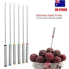 6Pcs Stainless Steel Forks Ceramic Chocolate Or Cheese Fondue Set Kitchen AU