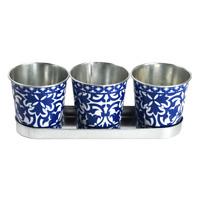 3 X Portugais Esschert Jardin Herbe Fleur Zinc Bleu Plante Pots Tubes sur