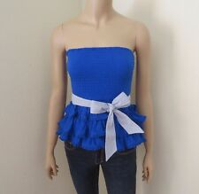 NEW Abercrombie Womens Strapless Tube Top Size Small Shirt Royal Blue Bow
