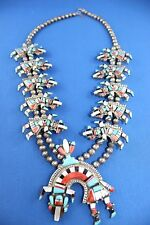 GORGEOUS VINTAGE ZUNI INLAY RAINBOW MAN KACHINA SQUASH BLOSSOM NECKLACE