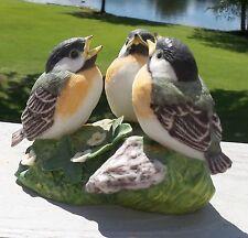 "Vintage Franklin Mint Three Little Birds ""Conversation"" On Wood Base 1985 Signed"