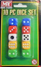 10 Standard Playing Dice ( White Red Green Yellow Blue) Free Postage to the UK