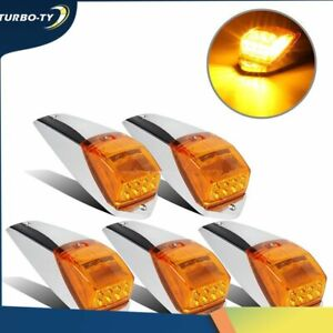 5 pcs Amber Chrome 31 LED Cab Marker Lights for Peterbilt Kenworth Freightliner