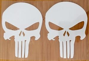 2 x Punisher White Skull Car Window Vinyl Decal  9cm x 12cm