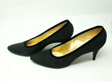 Vintage DeLiso Debs By Palter DeLiso Women's Black Cloth Pumps Heels Size 7 B