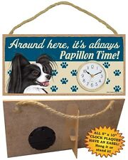 Papillon (b&w)  CLOCK-Around here it's always--Time-Hang or Easel Back