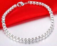 "Valentines 925 Sterling Silver Elegant Box Link Small 7"" Bracelet +GiftPkgg D33S"