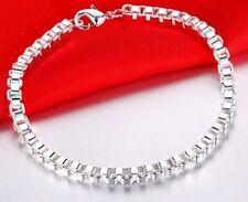 925 Sterling Silver Elegant Byzantine Box Link Bracelet Bangle +Velvet Gift D33