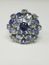 **STERLING SILVER AMETHYST & TANZANITE CLUSTER RING SIZE 7.5**
