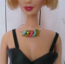 Model Muse BARBIE DOLL Jewelry EASY-ON Retro Silver Rubber Circle Necklace OOAK