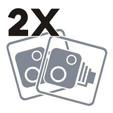 2X Car CCTV Camera Icon Silver Metallic Car Taxi Window Bumper Sticker Dash Cam