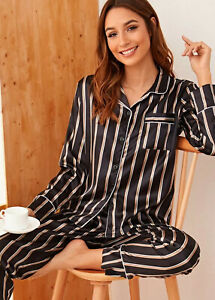 New Womens Stripe Print SATIN Button Up Ladies Pyjamas Set Loungewear Size 6-16
