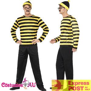 Adult Where's Wally Costume Mens Odlaw Yellow Wheres Waldo Fancy Dress Book Week
