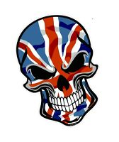 GOTHIC Biker SKULL & Union Jack British UK Flag vinyl car bike sticker Decal