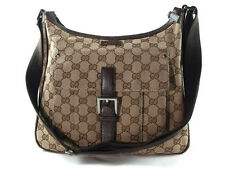 Auth GUCCI GG Pattern Canvas, Leather Browns Cross-Body Shoulder Bag GS5386L