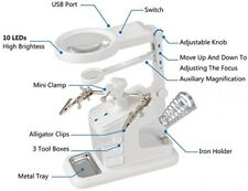 Helping Hand With Magnifying Glass 3 X 4.5X 25X USB Magnifier Soldering Station
