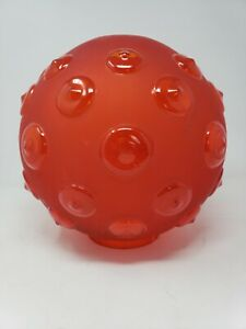 Antique Red Satin Glass Hobnail Gone the Wind GWTW Ball Globe Lamp Frosted Shade