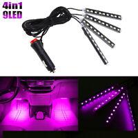 9 LED Purple  Car Interior Atmosphere Neon Pink Music Strip Lights Remote Lamp