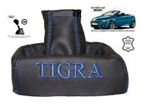 "Schaltmanschette Schaltsack Fur Opel Tigra B TwinTop 2004-09 Leder ""Tigra"" Blau"