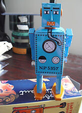 "COOL Modern Tin Windup Robot in Box - Lilliput Blue Robot Man 5 1/2"" Tall MS397"