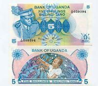 UGANDA 5 Shillings IDI AMIN 1977 UNC Banknote Pick 5a