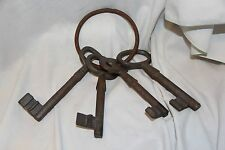 Cast Iron Oversized Skelton Key Set on a Ring  Antique Style Jailer's Keys