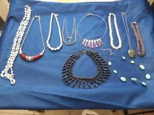 Mixed Job Lot of Vintage Necklaces Some M&S 10 in Total Nice ( Lot 1 )