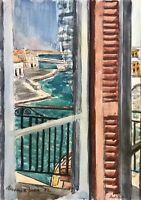 Karl Adser 1912-1995 Fensterblick Hafen Hafenstadt Hotel Griechenland Urlaub