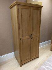Toronto Solid Oak Narrow 2 Door Double Wardrobe 85cm 54cm 180cm - Assembled!