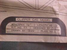 SCHEMATIC BUILD CLIPPER GAS MODEL AIRPLANE, PLAN NO. 1-2,