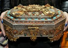 Tibet bronze gold Silver filigree inlay Turquoise coral beast Treasure box boxes