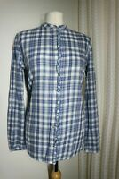 ESPRIT Women's Top Shirt Blue Check Frill Button Up Long Sleeve Work Size 14