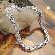 925 Sterlingsilber Armband 4mm Königskette vierkant 19cm Königsarmband