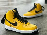 NIKE AIR FORCE 1 HIGH '07 LTHR LEATHER/STRAP AT4963 700 YELLOW OCHRE/BLACK/WHITE